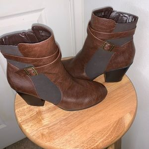 A2 brown vegan leather booties